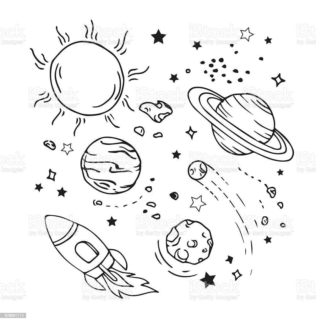 Vector of hand draw set of space icon vector art illustration
