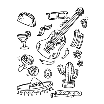 Vector of hand draw the Mexico item set. Doodle Mexican food, tequila, red chill, sombrero, guitar, tacos