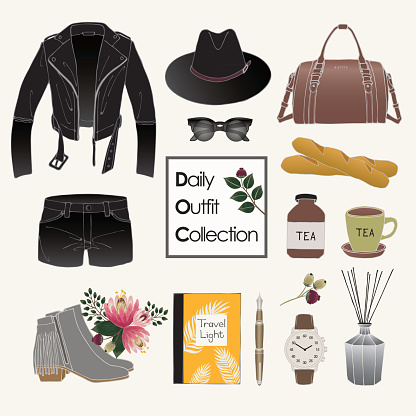Vector of hand drawn fashion illustration. A set of autumn outfit collection