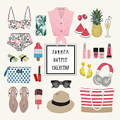 Vector of hand drawn fashion illustration. A set of summer outfit collection with accessories and flowers.