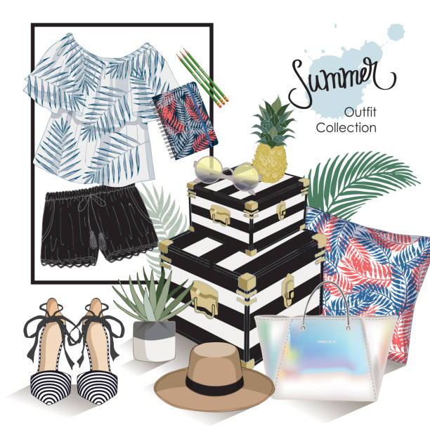 vector of hand drawn fashion illustration. a set of summer outfit collection with tropical plants. - summer fashion stock illustrations, clip art, cartoons, & icons