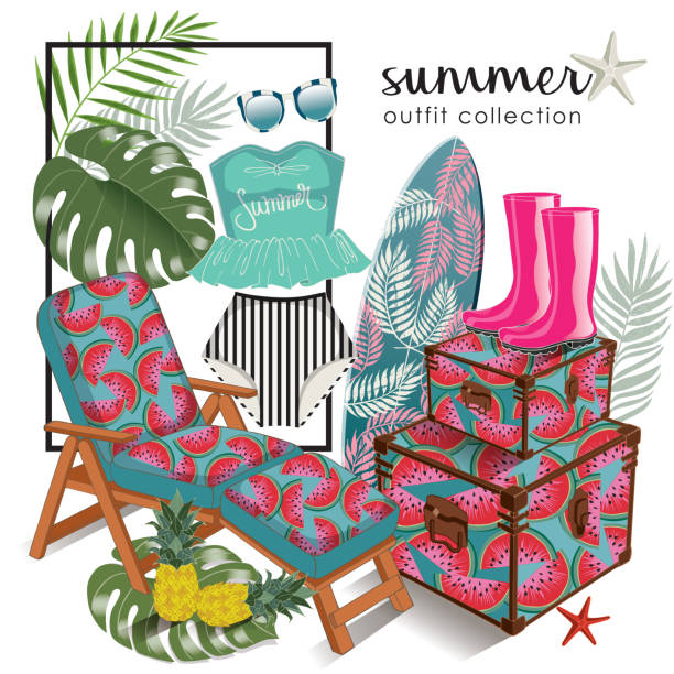 vector of hand drawn fashion illustration. a set of summer outfit collection with accessories and tropical plants. - summer fashion stock illustrations, clip art, cartoons, & icons