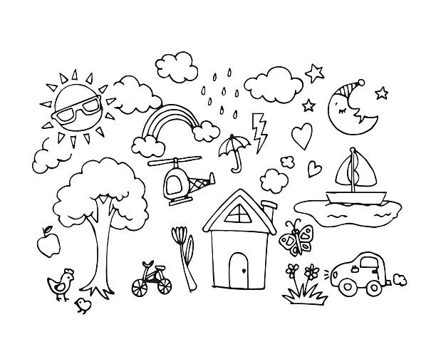 vector of hand drawn sketch doodles in baby draw concept - kids drawing 幅插畫檔、美工圖案、卡通及圖標