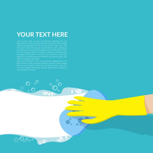 metin veya logo için kopya alanı ile mavi arka plan üzerinde izole beyaz kabarcık deterjan ile mavi sünger temizlik tutan sarı kauçuk eldiven ile el vektör - cleaning stock illustrations