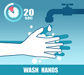 Vector of hands with soap under the faucet. Wash at least 20 seconds doctor recommendation