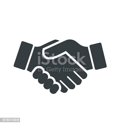 Vector of Handshake Icon, isolated on white background - vector iconic design