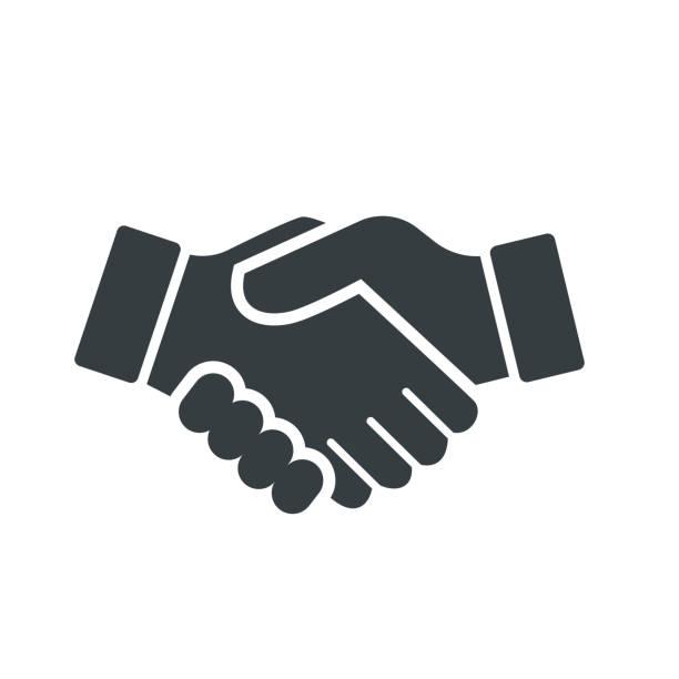 illustrations, cliparts, dessins animés et icônes de vecteur de handshake icon - vector design iconique - se saluer
