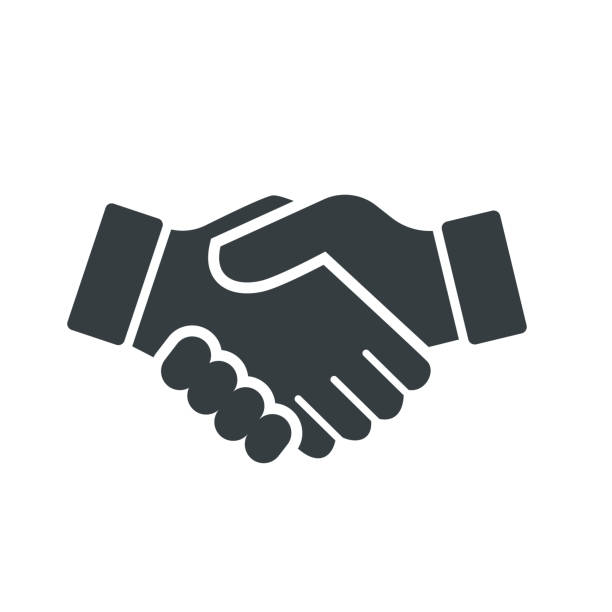 Vector of Handshake Icon - vector iconic design Vector of Handshake Icon, isolated on white background - vector iconic design dignity stock illustrations