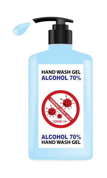 Vector of handwashing bottle with alcohol 70% for hand cleaning and killing viruses or bacteria, Coronavirus 2019-nCoV Stop that cause mysterious viral in China (Wuhan City). Vector of handwashing bottle with alcohol 70% for hand cleaning and killing viruses or bacteria, Coronavirus 2019-nCoV Stop that cause mysterious viral in China (Wuhan City). rubbing alcohol stock illustrations
