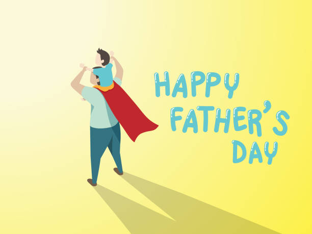 vector of happy father's day greeting card. Dad in superhero's costume giving son ride on shoulder with text happy father's day on yellow background vector of happy father's day greeting card. Dad in superhero's costume giving son ride on shoulder with text happy father's day on yellow background father stock illustrations