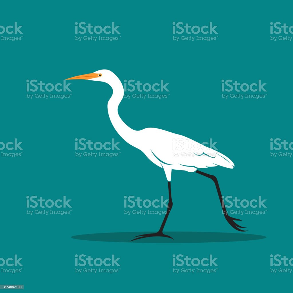 Vector of Heron or egret design (Ciconiiformes, Ardeidae) on blue background. Bird, Animals. - illustrazione arte vettoriale