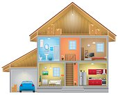 Vector of home interior with an attic and garage