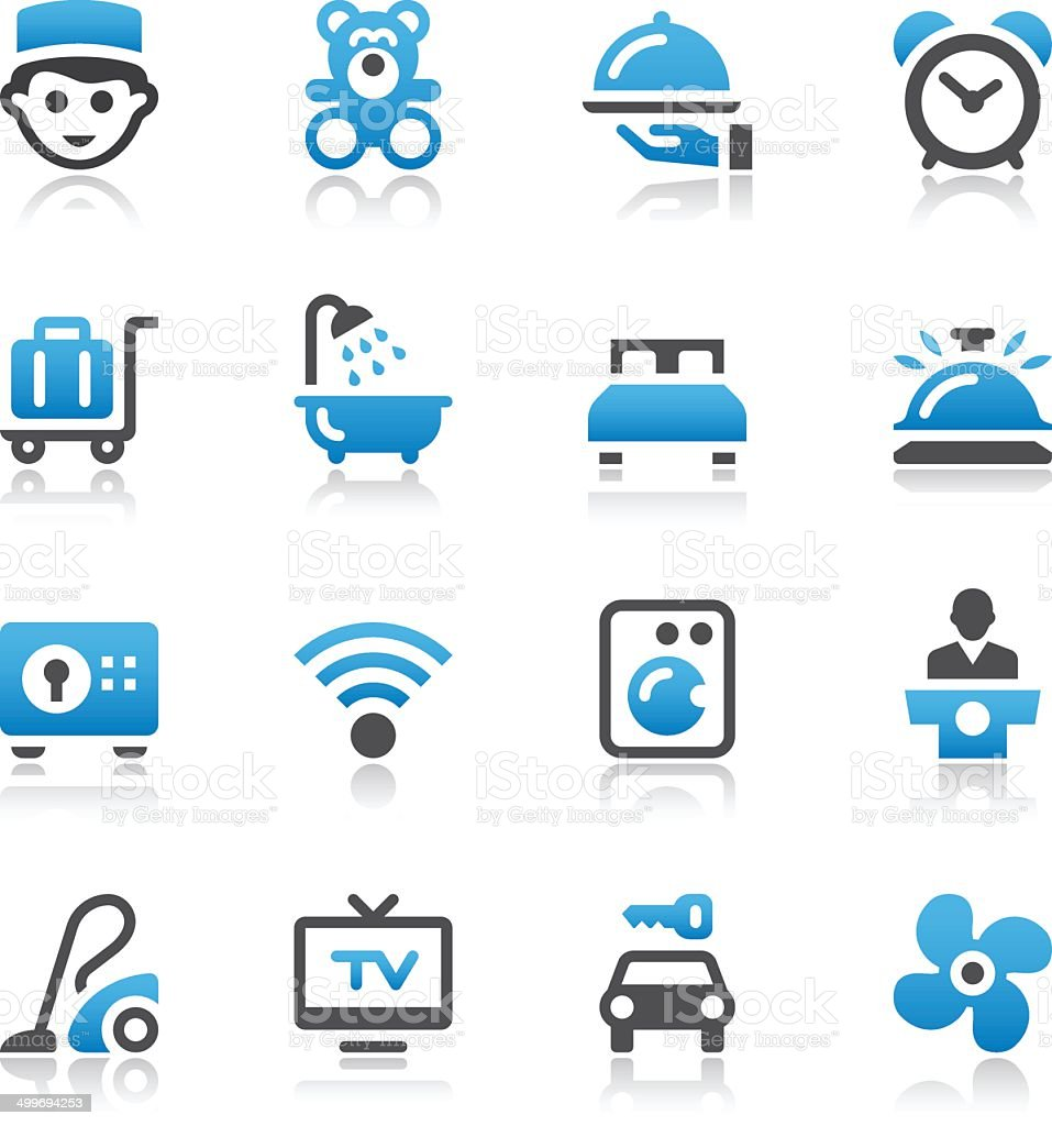 Vector of hotel industry icons vector art illustration