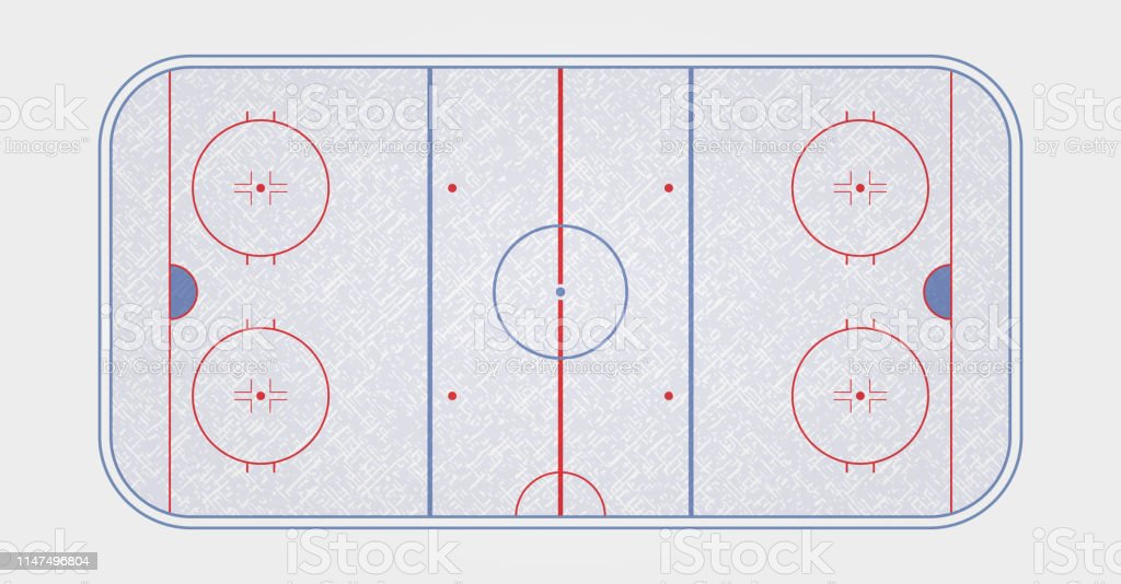 Vector of ice hockey rink. Textures blue ice. Ice rink. top view....