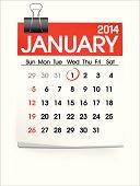 Vector of January 2014 Calendar