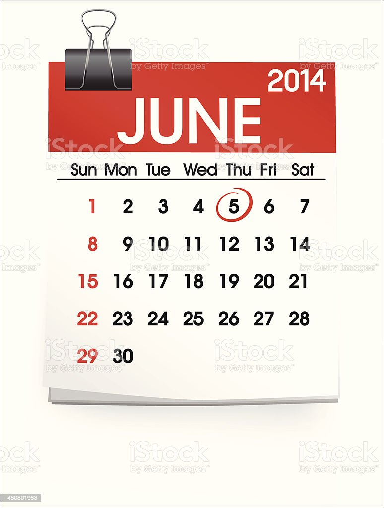 Vector of June 2014 Calendar vector art illustration