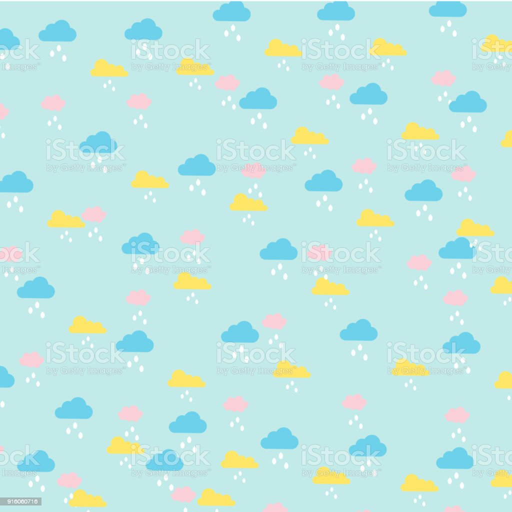 Vector Of Kids Pattern Clouds And Rain In Pastel Color Stock Vector ...
