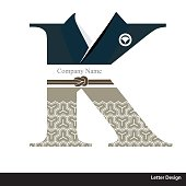 Vector of Kimono style alphabet tape K. Traditional Japanese