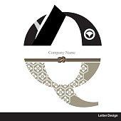 Vector of Kimono style alphabet tape Q. Traditional Japanese