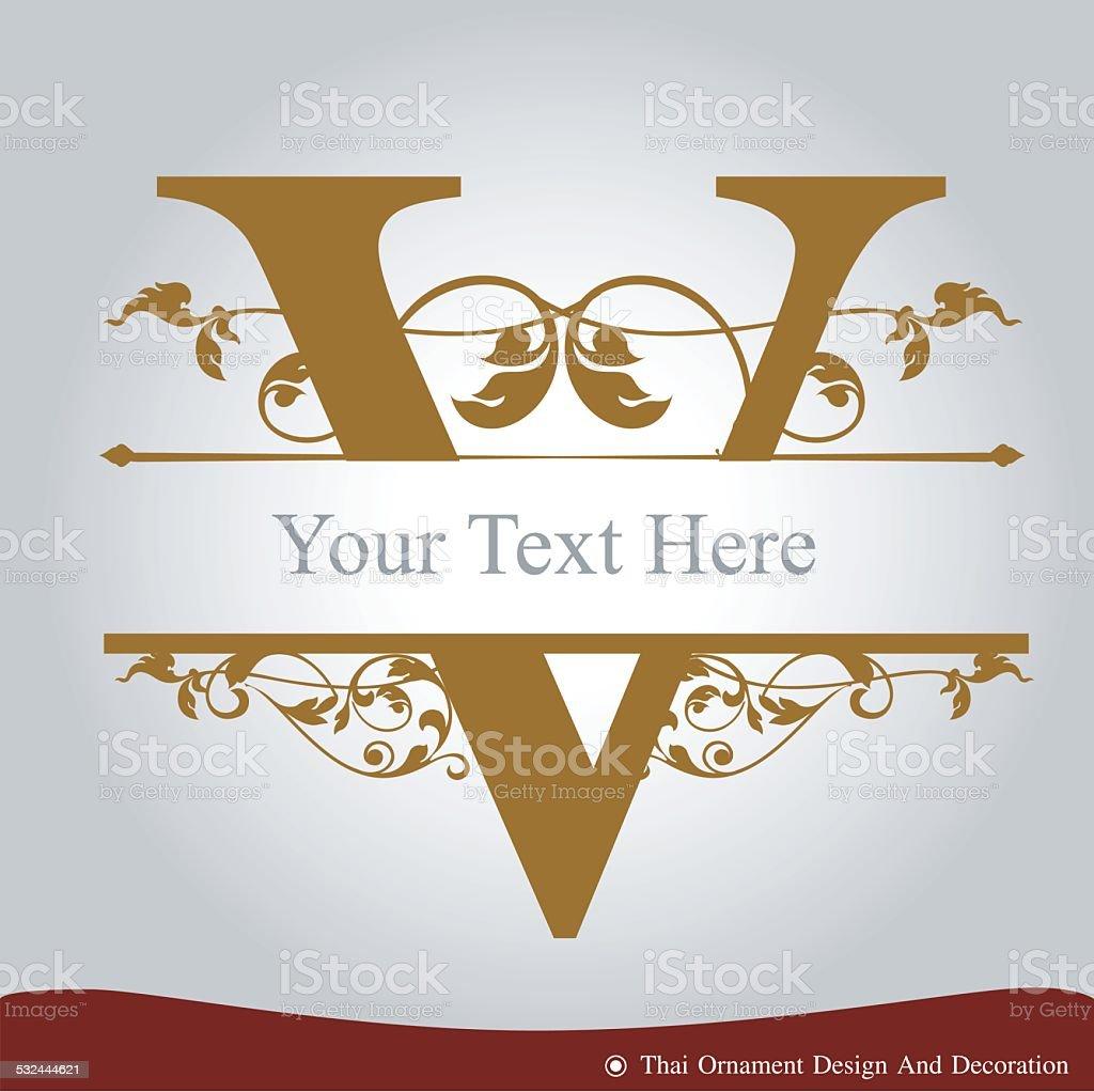 Vector of Letter V in the old vintage style. vector art illustration