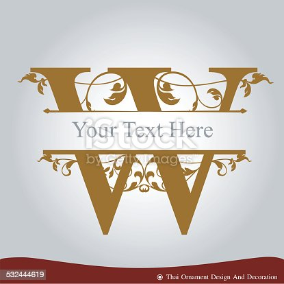 Vector of Letter W in the old vintage style. ABC concept type as logo. Typography design