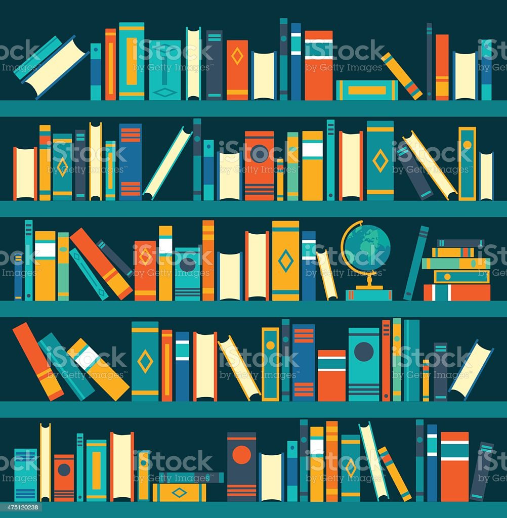 vector of library book shelf background vector flat