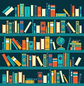 Vector of library book shelf background. Vector flat illustrations.