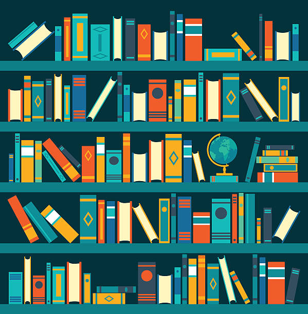 Vector Of Library Book Shelf Background Flat Illustrations Art Illustration