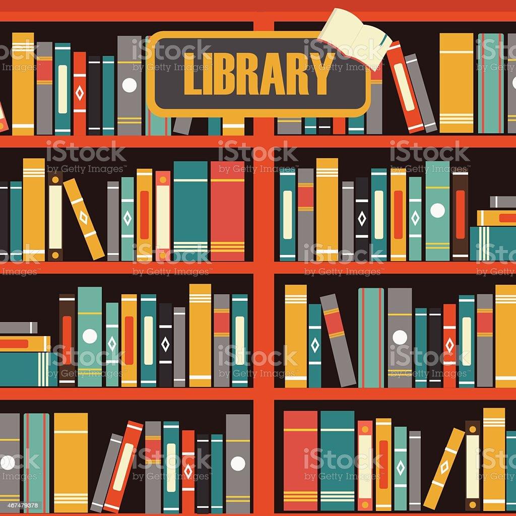 Vector of library book shelf royalty free vector