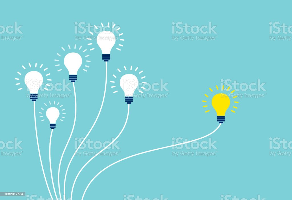 Vector of light bulbs on blue background. - Royalty-free Abstrato arte vetorial