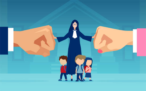 Vector of little children and a judge caught between divorcing parents who are fighting over custody Vector of little children and a judge caught between divorcing parents who are fighting over custody alimony stock illustrations