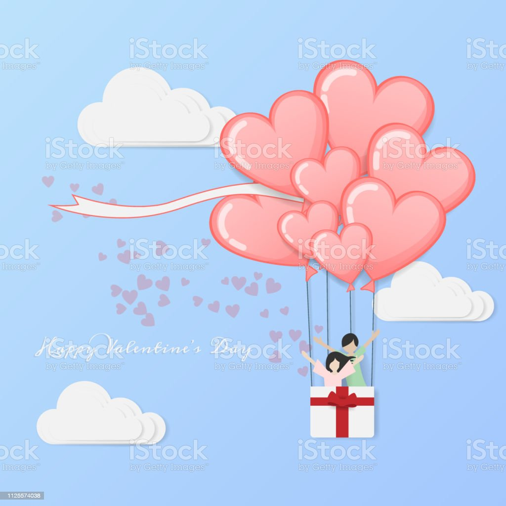 vector of love and Happy Valentine\'s day. hot air balloon flying with...