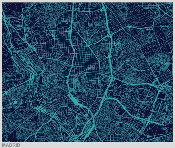 vektor der kartenhintergrund muster madrid - kartographie stock-grafiken, -clipart, -cartoons und -symbole