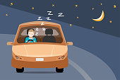 vector of man falling asleep while driving a car at night on the road