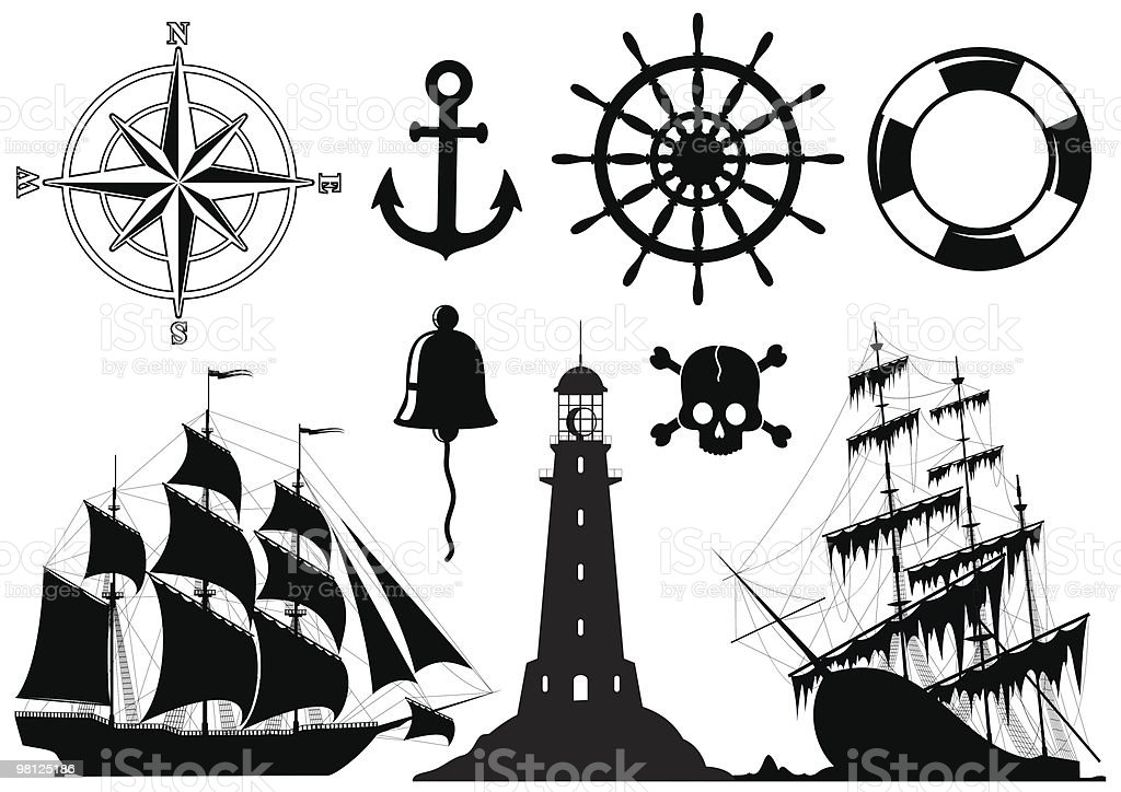 Vector of maritime images in black royalty-free vector of maritime images in black stock vector art & more images of anchor - vessel part