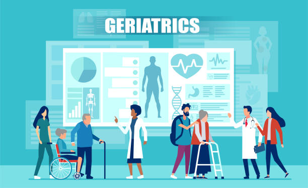 ilustraciones, imágenes clip art, dibujos animados e iconos de stock de vector del equipo médico ayudando a pacientes de edad avanzada con discapacidades utilizando aplicaciones médicas y tecnología moderna - geriatría