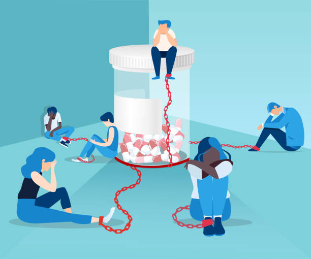 illustrazioni stock, clip art, cartoni animati e icone di tendenza di vector of men and women opioid addicts chained to the bottle of painkiller pills - antidolorifico