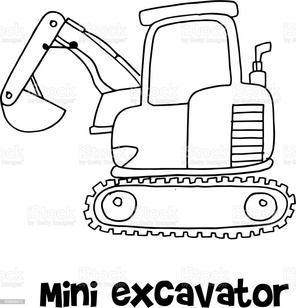 Vector Of Mini Excavator Hand Draw Stock Illustration