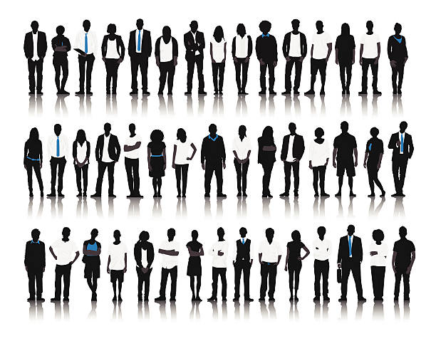 Vector of Mixed Age People on White Background Vector of Mixed Age People on White Background business silhouettes stock illustrations