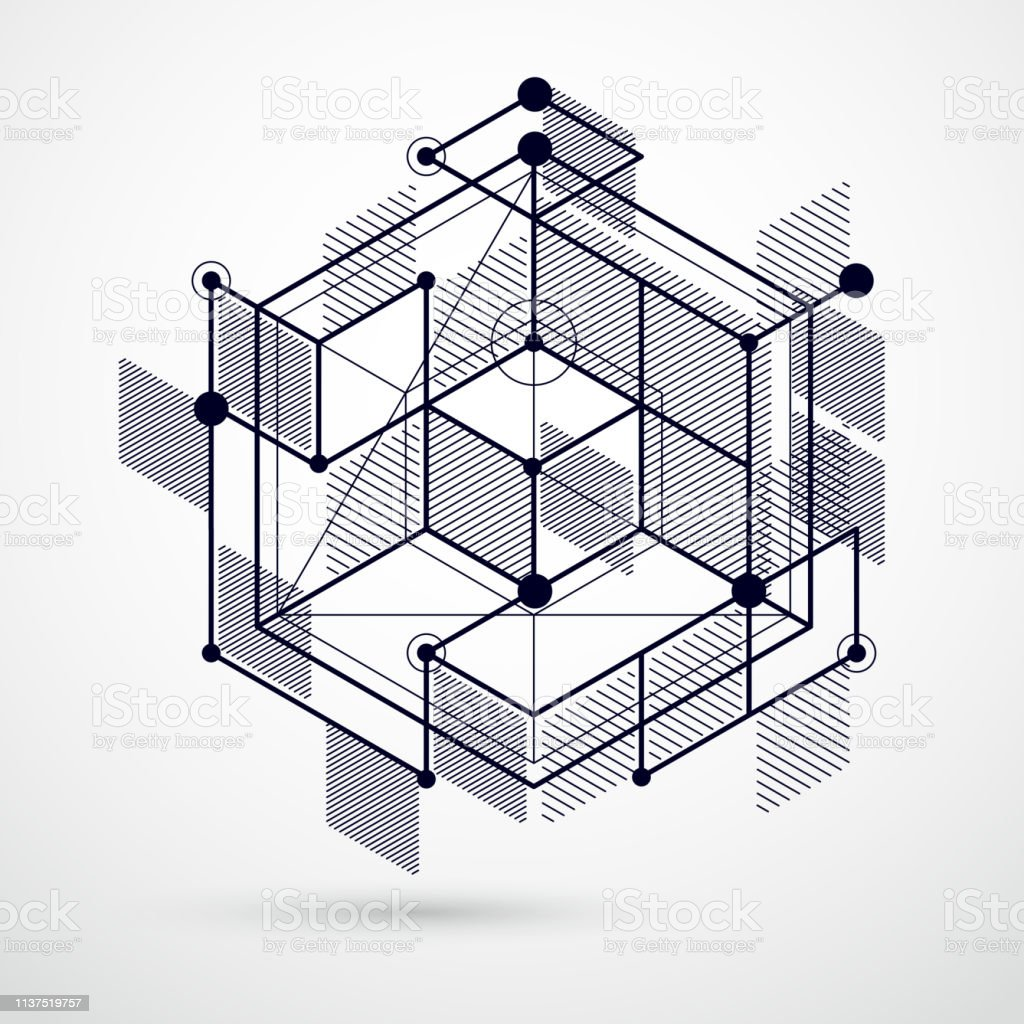 Vector of modern abstract cubic lattice lines black and white...