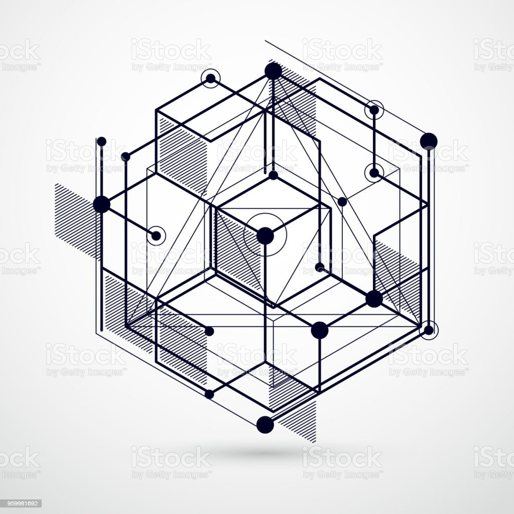Vector Of Modern Abstract Cubic Lattice Lines Black And White