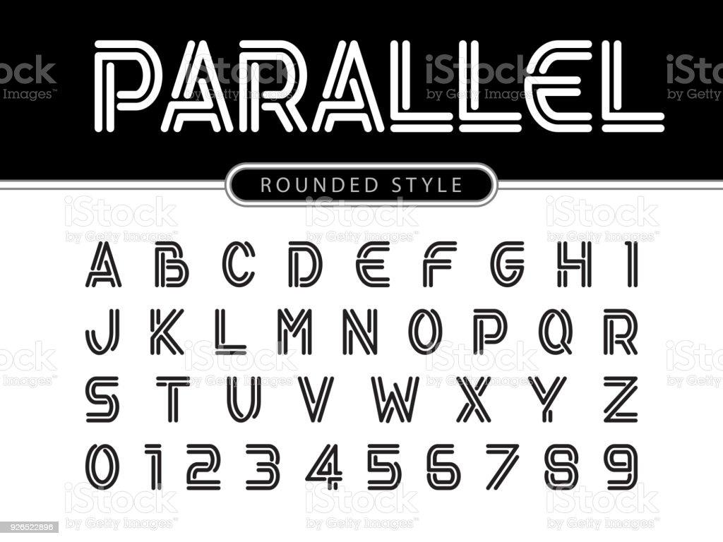 Vektor Der Modernen Alphabet Buchstaben Und Zahlen Parallele