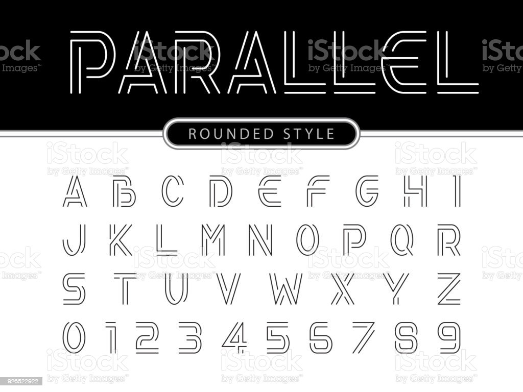 Vector of Modern Alphabet Letters and numbers, Parallel lines stylized rounded fonts vector art illustration
