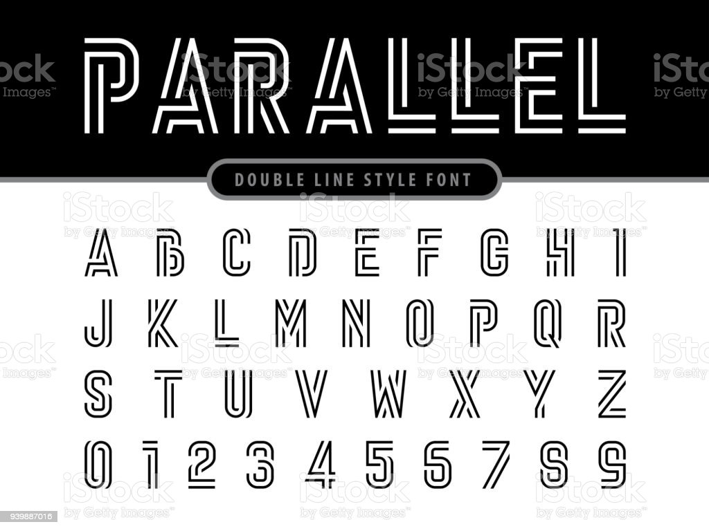 Vector Of Modern Alphabet Letters And Numbers Parallel Lines