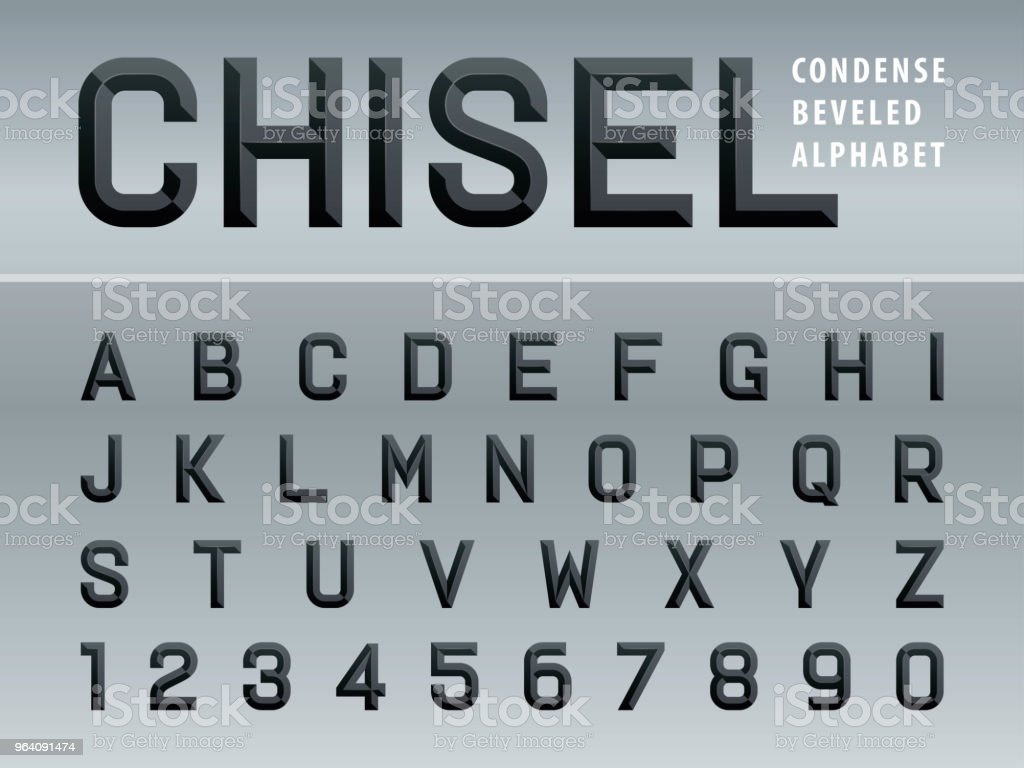 Vector of Modern Chiseled Alphabet Letters and numbers, Beveled stylized fonts - Royalty-free Abstract stock vector