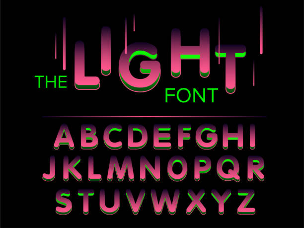 Vector of modern stylized font and alphabet Vector of modern stylized font and alphabet commercial event stock illustrations