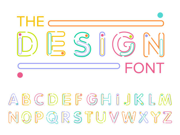ilustraciones, imágenes clip art, dibujos animados e iconos de stock de vector de modernas fuentes estilizadas y alfabeto - tipos de letra y tipografía