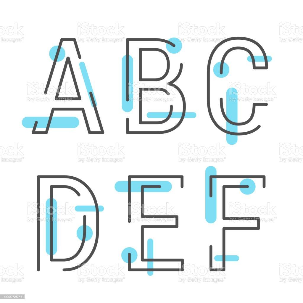 Vektor der modernen stilisierte Schrift und alphabet – Vektorgrafik