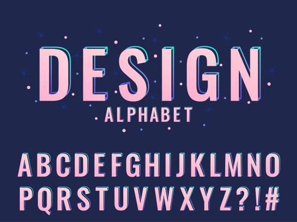 現代風格化字體和字母表的向量 - 女性化 幅插畫檔、美工圖案、卡通及圖標
