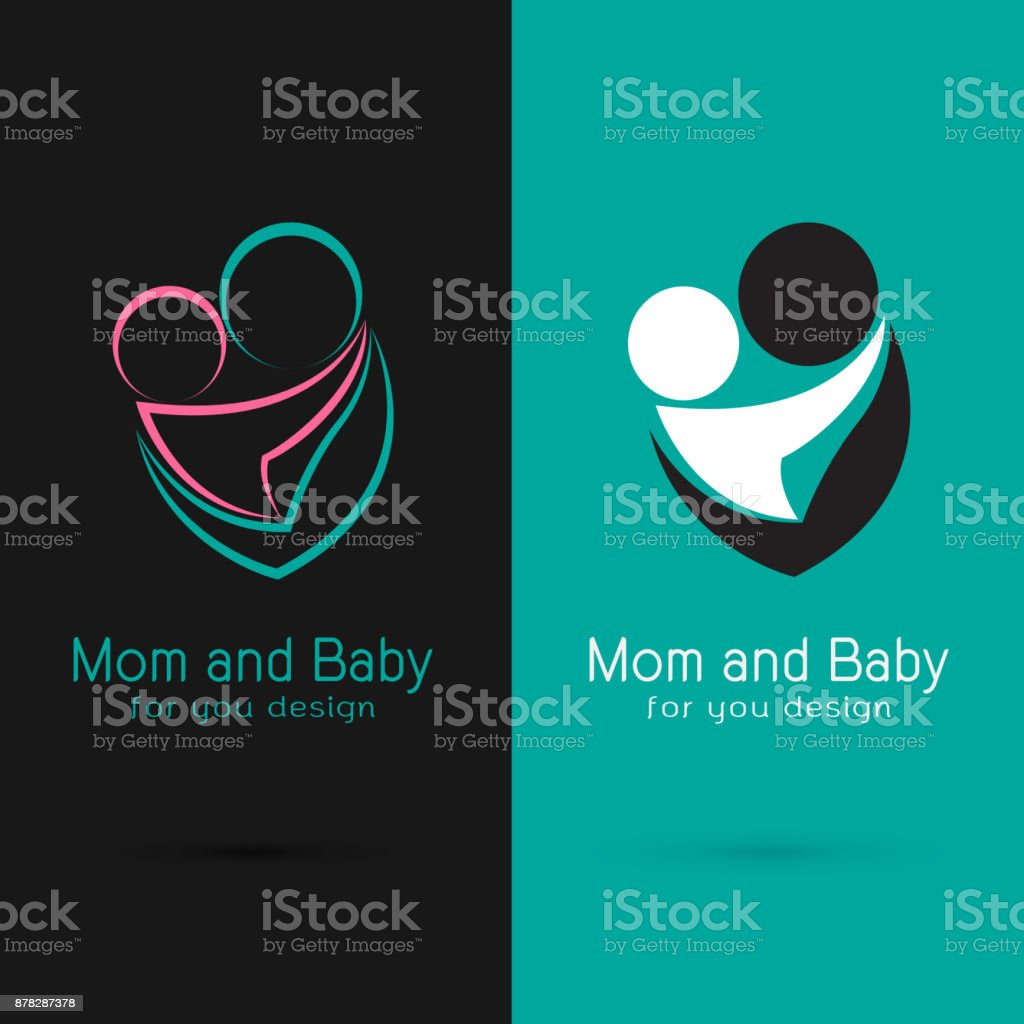 Vector of mom and baby design on black background and blue background vector art illustration